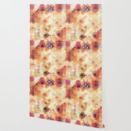 geometric square pixel and circle pattern abstract in orange brown Wallpaper
