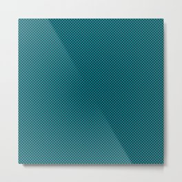 Houndstooth Black & Teal small Metal Print