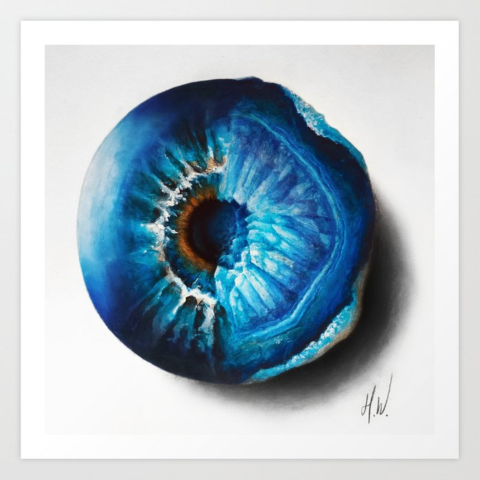 """Crystal Geode Eye"" Drawing Art Print"
