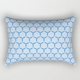 Classic Blue Windmill Blade and Circles Organic Pattern Rectangular Pillow