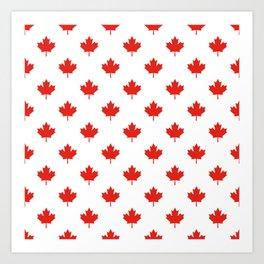 Large Tiled Canadian Maple Leaf Pattern Art Print