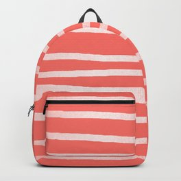 Living Coral Rose Gold Simply Drawn Stripes Backpack
