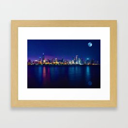 Panorama View of Chicago Skyline, United States Framed Art Print