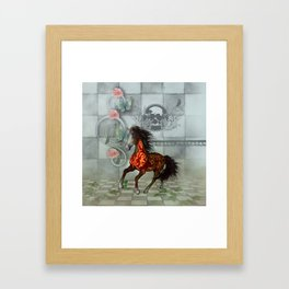 Wonderful horse with skulls Framed Art Print