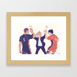 high fives Framed Art Print