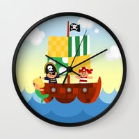 pirate ship Wall Clocks featuring pirate ship by Alapapaju