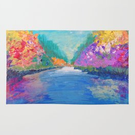 AROUND THE RIVERBEND - Autumn River Modern Nature Pochahontas Abstract Landscape Acrylic Painting Rug