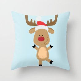 Dancing Rudolph Red Nosed Reindeer Merry Christmas Throw Pillow