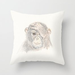 Concerned Monkey Throw Pillow
