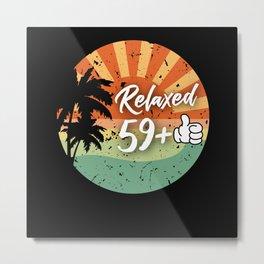 Retro Sunset 60th Birthday Palm Sea relaxed 49+1 Metal Print