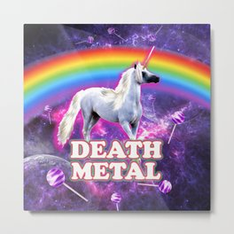 death metal unicorn space candy sweet rainbow Metal Print