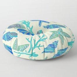 Blue Seashells Floor Pillow