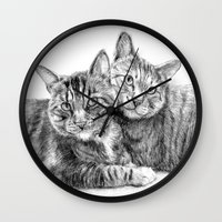arya stark Wall Clocks featuring Arya and Dante portrait by Rushelle Kucala Art