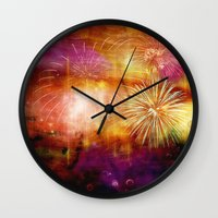 fireworks Wall Clocks featuring fireworks by haroulita