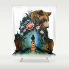 Flower & Bear Shower Curtain