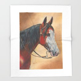 Trail Horse with Tassel on Bridle Throw Blanket