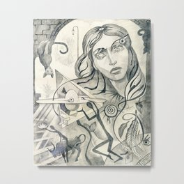 Surreal Maiden with pyramid. Metal Print