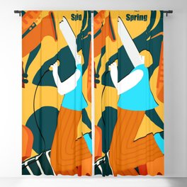 90's Retro Music Poster Blackout Curtain