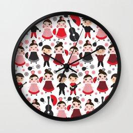 Seamless pattern spanish flamenco dancer. Kawaii cute face with pink cheeks and winking eyes. Wall Clock
