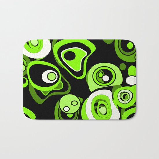 Abstract pattern black and green background . Bath Mat