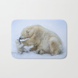 Polar bear with cub. Mother love. Bath Mat