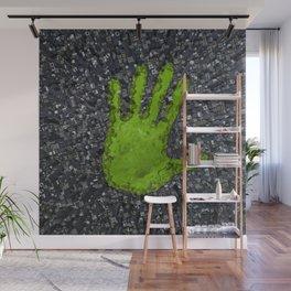Carbon handprint / 3D render of modern city with handprint shaped park Wall Mural