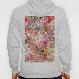 Summer Flowers | Colorful Watercolor Floral Pattern Abstract Sketch Hoody