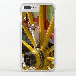 kitten playing on an Algarve cart, Portugal Clear iPhone Case