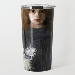 Boznańska-Girl with chrysanthemums Travel Mug
