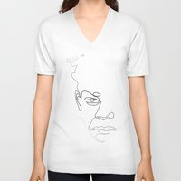 quibe V-neck T-shirts featuring Half-a-Basquiat: One line by quibe