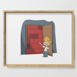 Small kids with wall in room door Serving Tray