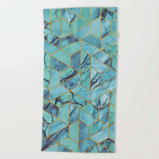 Blue Marble Hexagonal Pattern Beach Towel