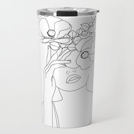 Minimal Line Art Woman with Flowers II Travel Mug