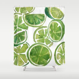 Watercolor LIMES Shower Curtain