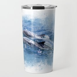 Ocean Spirit Animal Dolphins, Watercolor Effect Dolphin Twins Travel Mug