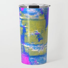 Just Relax - Abstract, pink, blue and yellow painting Travel Mug