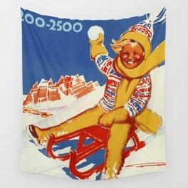 Cortina Vintage Italian travel winter sport Wall Tapestry