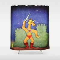 he man Shower Curtains featuring He Unicorn by That's So Unicorny