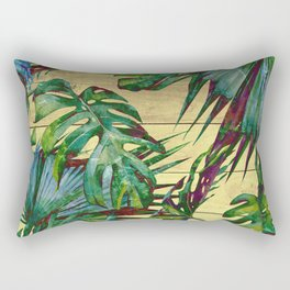 Tropical Palm Leaves on Wood Rectangular Pillow