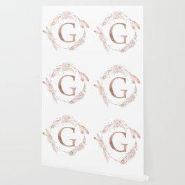 Letter G Rose Gold Pink Initial Monogram Wallpaper