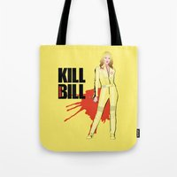 kill bill Tote Bags featuring Kill Vampire Bill by AriesNamarie