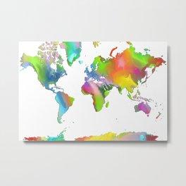 World Map - Watercolor Metal Print