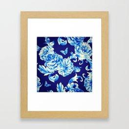 Blue Flowers & Butterflies Pattern Framed Art Print