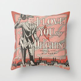 I Love You My New Orleans Throw Pillow