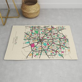 Colorful City Maps: Dallas, Texas Rug