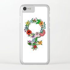 Feminist flower in color Clear iPhone Case