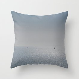 Distant Yachts  Throw Pillow