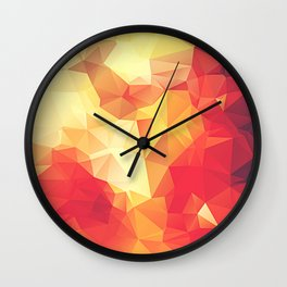 Crimson Fire Polygon Art Wall Clock