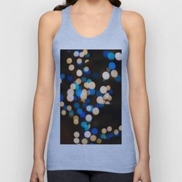 Blue Orange Yellow Bokeh Blurred Lights Shimmer Shiny Dots Spots Circles Out Of Focus Unisex Tank Top
