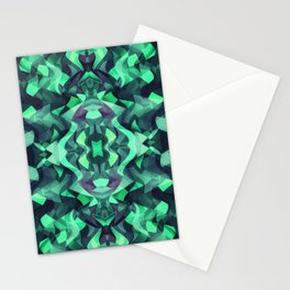 Abstract Surreal Chaos theory in Modern poison turquoise green Stationery Cards